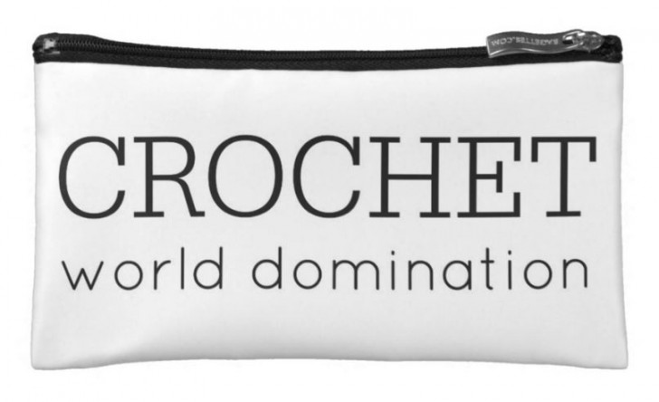 Crochet is taking over the world! Get this pouch to store your hooks and notions... and start plotting how you can help crochet take over the world!