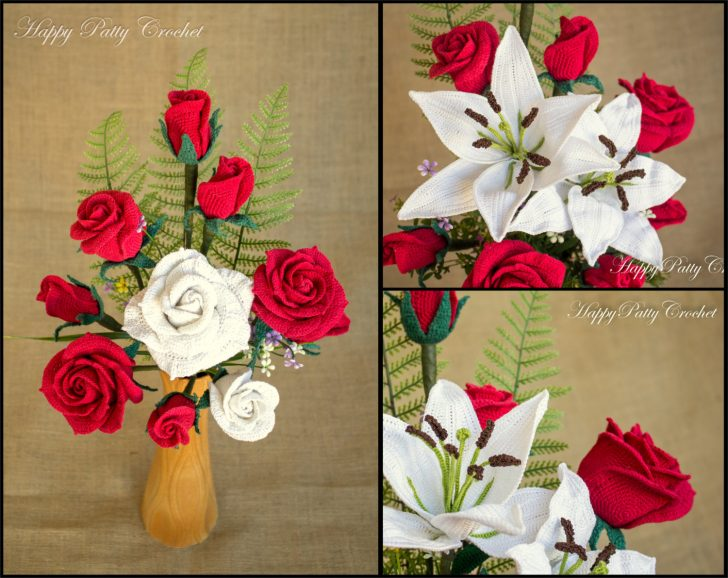 Crochet Flower Pattern Bundle - Crochet Lily & Roses for Bouquets, Decoration, Hair and Brooches