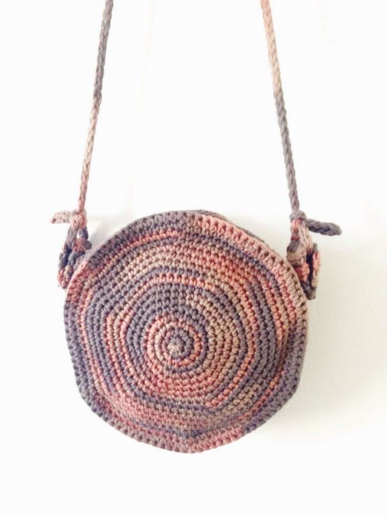 Round Crochet Spiral Purse Boho Circle Bag