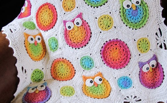 Owl Obsession – a colorful owl afghan pattern