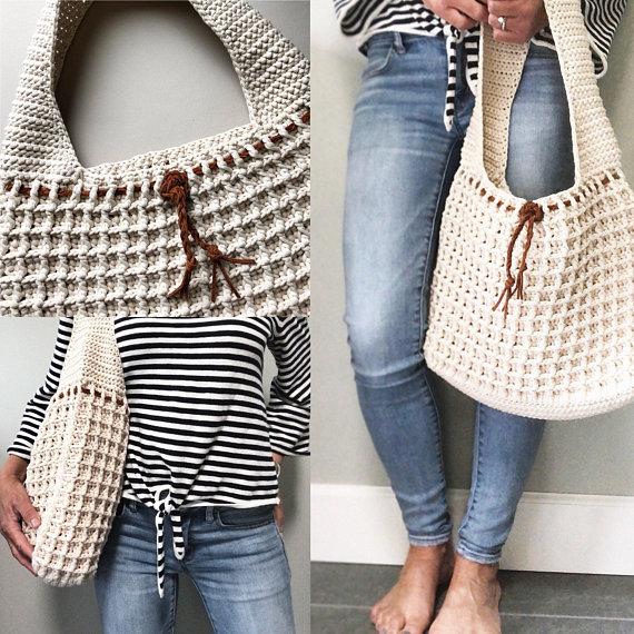 Waffle Stitch Crochet Bag