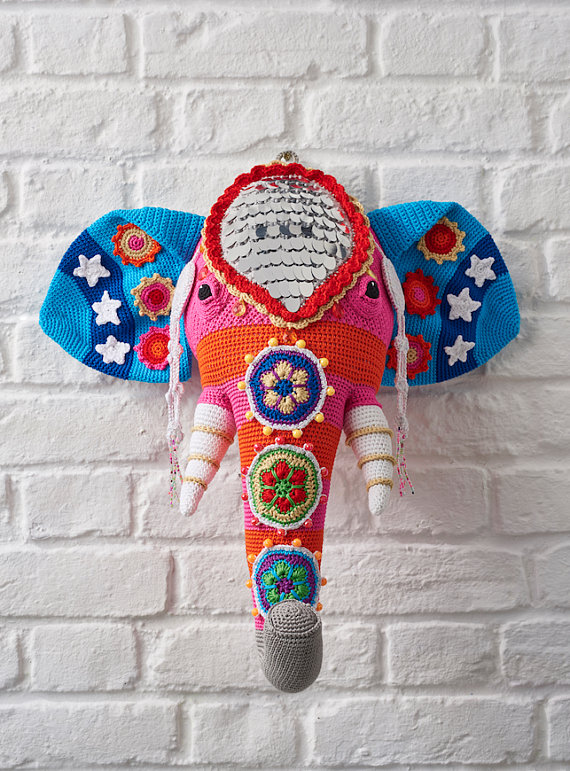 Faux Taxidermy Crochet Elephant