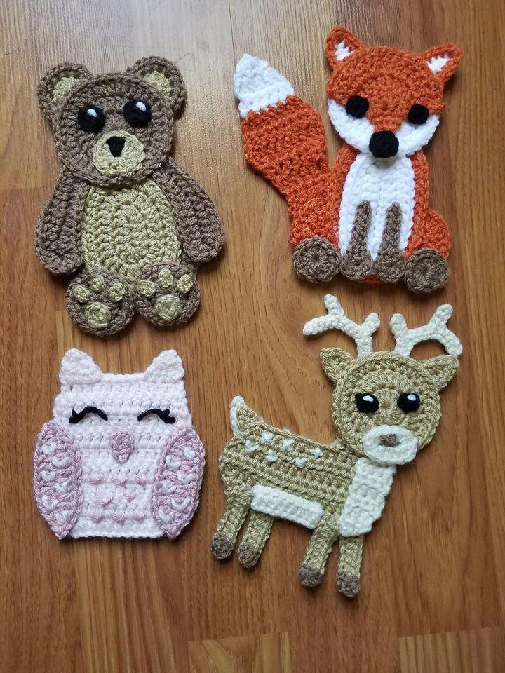 Woodland Animals Applique Pack- Crochet