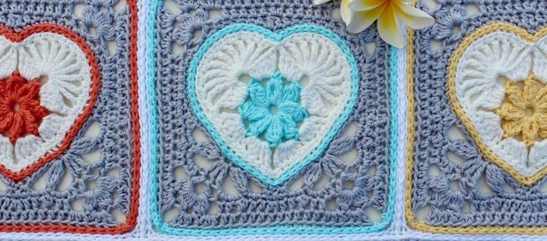 Heart in Bloom Motif and Square by Vivid Kreations