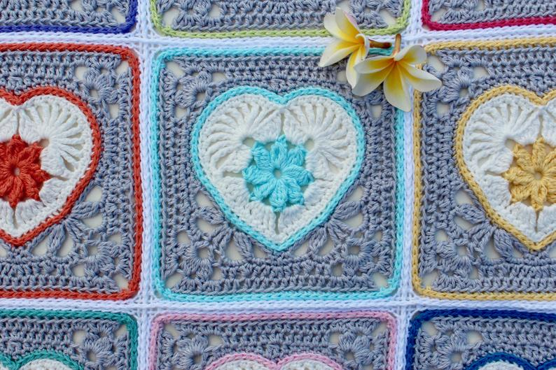 Heart in Bloom Motif and Square