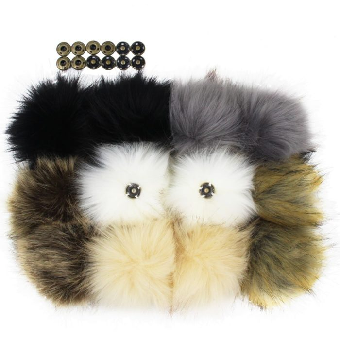 12pcs Snap On Faux Fur Pom Poms