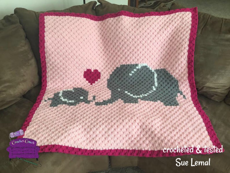 Elephant Mommy and Baby Afghan