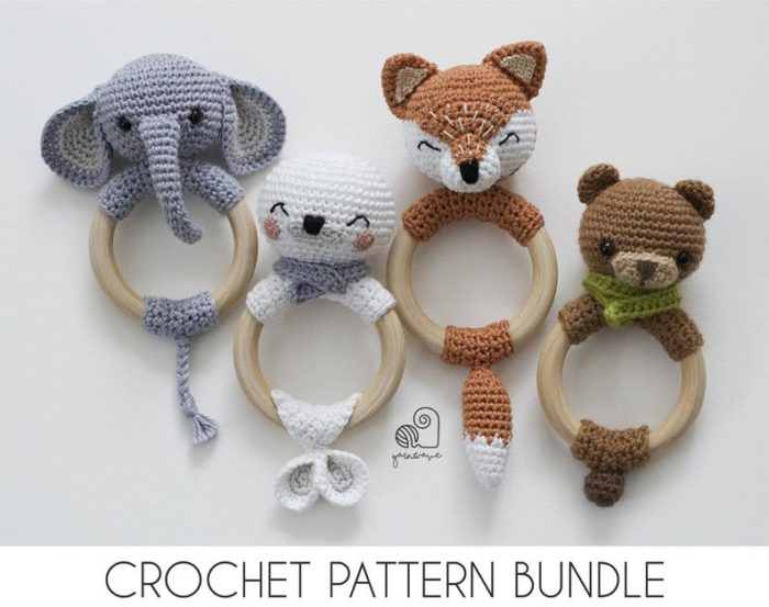 Crochet Amigurumi Rattle Teether Ring Bundle